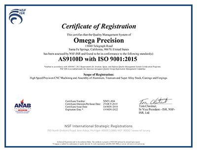 AS9100D/ISO9001:2015 Certificate